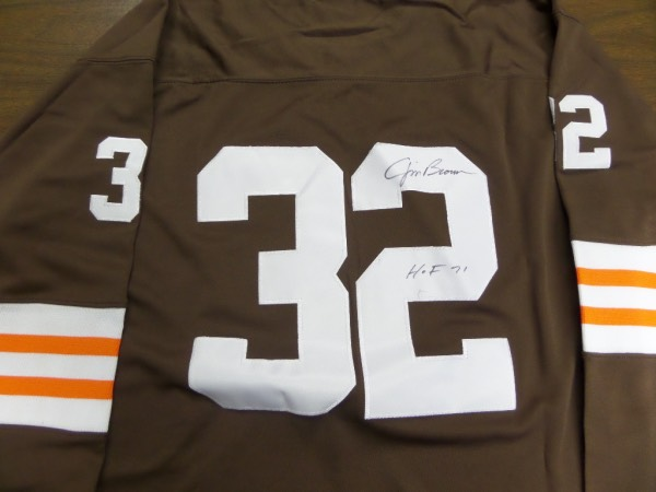 This mint 1964 throwback style authentic jersey is brown with white and orange trim and gorgeous! It comes signed on the back #32 by this legend in black sharpie with HOF 71 included.  Perfect for display and retails in the mid hundreds+++. Nice and guaranteed authentic.