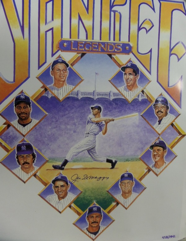 "This giant 2x3 foot color poster was done by All-American Collectibles circa 1998 and shows Joe surrounded by other NYY Greats. It comes boldly blue sharpie signed by the ""Yankee Clipper"", grade is a 10 all over the place, value is $1995.00 at time of sell out, and it is limited, numbered, and quite the HOF/Yankees investment piece."