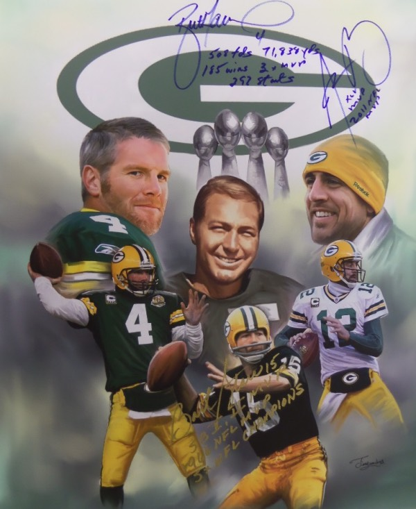 This stunner is a 2x2 foot square real canvas artwork and shows 3 in, or soon to be Inducted HOF QB's from storied Lambeau Field. I see 2 images each of Bart Starr, Brett Favre and Aaron Rodgers, and all 3 HOF worthy QB's have signed in sharpie and paint pen. It is a bold 10 all over, shows off well from 65 feet away, and value is $899.00 on the white, green and gold gem.