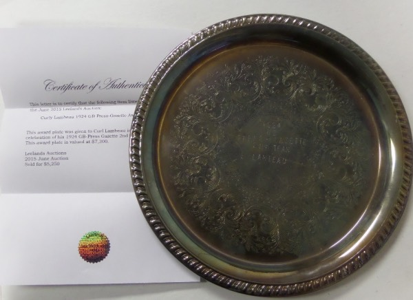 This amazing Green Bay area attic find is a silver large plate and custom engraved from 1925. It was given to the late HOF'er in 1925 for his performance during the 1924 season, and as a member of the all NFL second team. It was given by the GB-Press Gazette and has an auction LOA intact from Leelands for assurance. Great piece of history and value is $7200.00 says the letter.