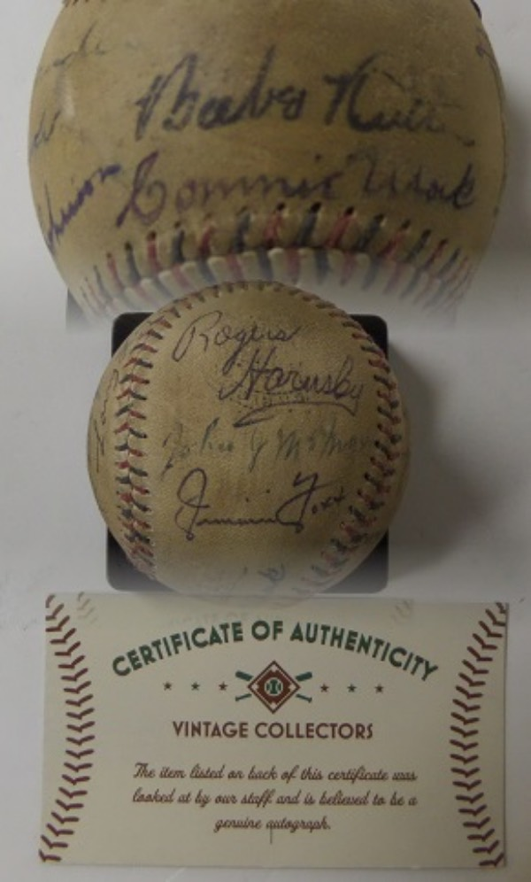 This MUST HAVE MLB collector's chance is a very old, red and blue laced Official NL Baseball from Spalding, hand-signed all over by 18 of the game's true immortals.  Included are RUTH, MACK, ALEXANDER, SPEAKER, JOHNSON, HORNSBY, McGRAW, FOXX, COBB, HEILMANN, WALSH, TERRY, SIMMONS, WAGNER, COLLINS, YOUNG, SISLER and LAJOIE, with signatures ranging from 3's to 6's.  Comes with a COA from Vintage Collectors for authenticity purposes, and we'd have to say that retail here is right about ... PRICELESS!