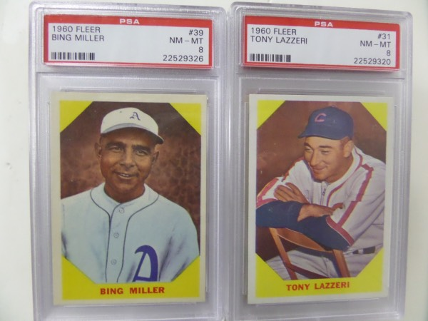 This fantastic card collector's chance is FORTY-ONE different 1960 Fleer Baseball Greats baseball cards ... that's 41 of the complete set of 79!  Each is individually slabbed and graded by the reputable PSA card grading company.  Gradings are in parenthesis, and included are HOF names like Kiner (7), L. Waner (6), Eddie Collins (6), Mordecai Brown (6), Feller (6), Mack (5), Boudreau (6), Hoyt (7), Pennock (7), Hartnett (7), Rickey (7), P. Waner (7), Averill (6), Lazzeri (8), Bender (7), Mize (7), Cuyler (7), Tinker (7), Vaughan (7), Wheat (7), Waddell (7), Grimes (7), Chance (7), Terry (7), Baker (7), McGraw (7), Landis (7), Klein (7), Rice (7), Evers (7), Traynor (6) Bottomley (6) and more.  Wow!  What an amazing opportunity