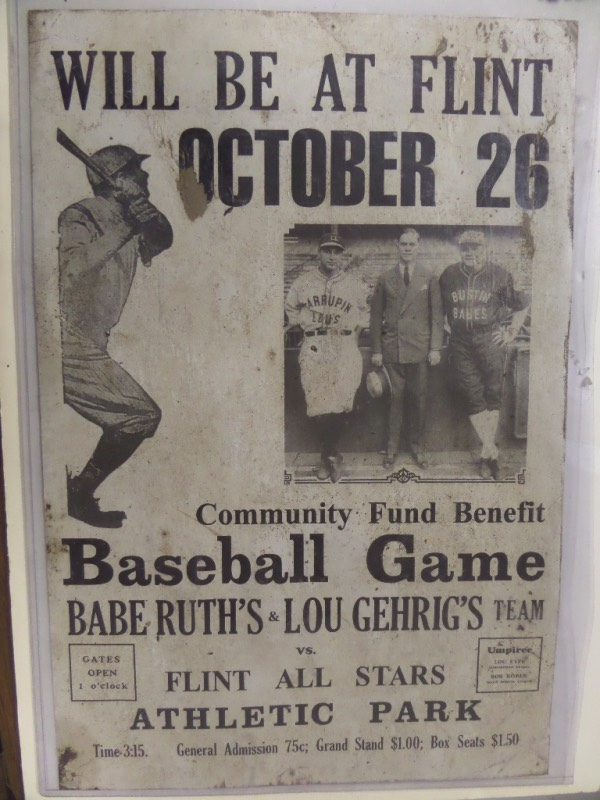 This very scarce item is an old original poster, used to advertise that Bustin Babe's and Larrupin Lou's was coming to town. It shows both Yankee HOF Greats in their uniforms, measures near 14x22 in size, and although not mint, it shows off nicely. It was printd in Michigan, value is many times our opening bid price, and it belongs in every serious Yankee collection.