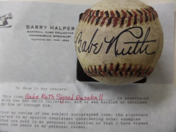 This vintage red & black stitched baseball is in G shape overall and nearly 100 years old!  It comes signed wonderfully right across the sweet spot by this long-deceased Hall of Fame legend in black ink. GORGEOUS and RARE ball & comes fully certified authentic by renowned collector BARRY HALPER for authenticity purposes.