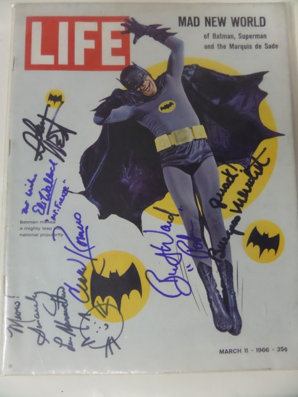 This 3/11/66 LIFE mag shows Batman on the cover and is in EX shape.  It comes signed by 6 stars from the popular show WONDERFULLY in blue or black and included are WEST, WARD, MEREDITH, MERIWETHER, WALLACH, & ROMERO! Most deceased here and perfect for framing. Comes with a COA from AMA(Authentic Memorabilia Appraisals) for authenticity with a listed value of $1,000.