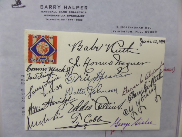 "This 5""x7"" FDC is a tribute to baseball's centennial in 1939 and is in SUPER shape. Dated from June 12 and has been SIGNED in blue or black inks by 15 legends in attendance. Autographs are GORGEOUS and included are ALL of the big names!! Comes with a signed COA from deceased collector Barry Halper for authenticity and BV into the 5 figures."