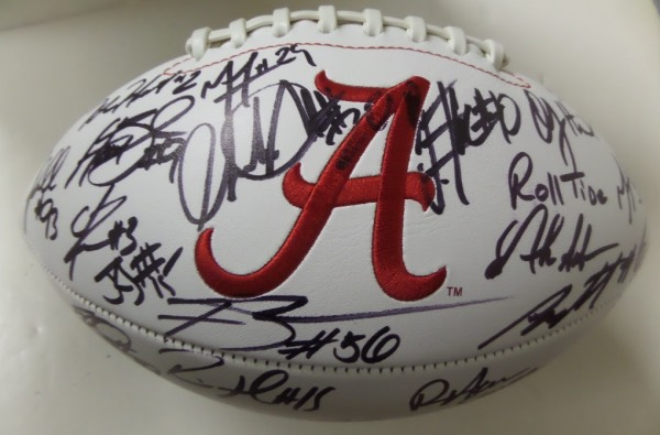 This mint logo football comes signed on the white panels by 20+ members of this years #1 team for most of the year who lost a heartbreaker in the title game to Clemson. Autographs are nice with the big names included like J.Hurts, Scarbrough, Foster, Allen, Robinson, Humphrey,etc. loaded with soon-to-be NFL players and ideal for the Tide fan.