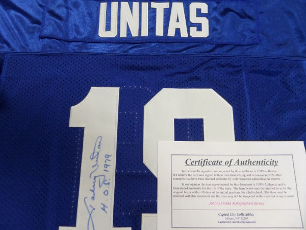 new concept a7658 173f0 Coach's Corner - Johnny Unitas hand signed/certified Colts ...