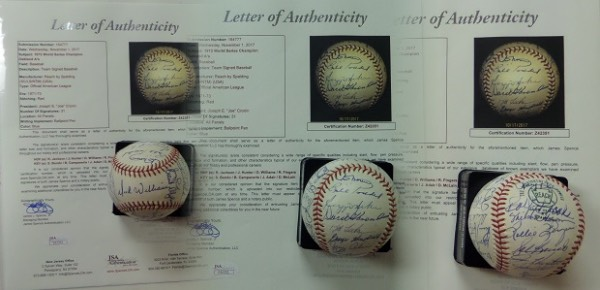 This vintage Official American League Baseball from Reach is in EX/EX+ shape, and comes blue ink-signed all around by 31 members of the World Champion '72 A's!  Included are Dick Williams (ss), Ken Holtzman, Denny McLain, Sal Bando, Rollie Fingers, Catfish Hunter, Bert Campaneris, Joe Rudi, Gene Tenace, Dick Green, Diego Segui, Blue Moon Odom, and many more.  A great looking ball, comes with a full photo LOA from JSA (Z42351, retail here has to be low thousands!
