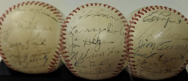 This fantastic collector's item is a vintage, red-laced and unlabeled baseball, hand-signed all over by 26 members and coaches of the 1951 American League All Star Team!  Included are Joe DiMaggio (ss), Casey Stengel, Bob Lemon, Larry Doby, Nelson Fox, Bill Dickey, Bobby Doerr, Minnie Minoso, George Kell, Ralph Houk, Tom Henrich, Vern Stephens, Ted Williams, Jim Hegan, Mel Parnell, Randy Gumpert, Bobby Shantz, Ed Lopat, Fred Hutchinson, Phil Rizzuto, Yogi Berra, Ferris Fain, Ned Garver, and a couple of others that I'm unable to make out.  Signatures here range from 3's to 6's, but the ball is really a stunner, and with so many HOF'ers, and so many now deceased, I cannot even imagine the retail potential!