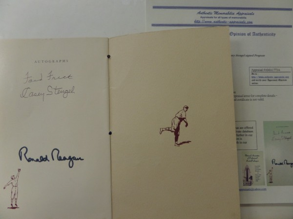 "Wow, this rare and unique program is from the 45th annual convention banquet in Los Angeles on Dec. 5 1946 and is in EX shape overall! It comes signed on the back ""autograph page"" by these 3 deceased legends (2 baseball HOFers and former Pres. Reagan!) in black and the signatures are in superb shape! Comes with a professional COA/Appraisal from AMA (Authentic Memorabilia Appraisals) for authenticity purposes with a listed value of $1,200 on it!"