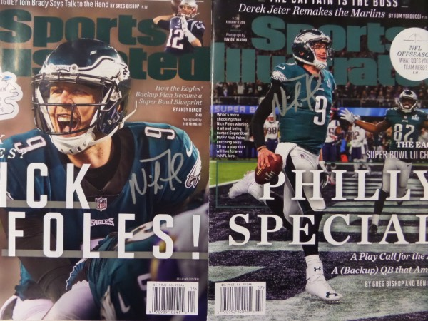 This MUST for Philadelphia Eagles faithful is TWO different Sports Illustrated full NM magazines, each with a color cover of Super Bowl MVP, Nick Foles.  Included are the 1/29 double Super Bowl issue, and the 2/12 issue with the color cover of Foles after he caught his now famous Philly Special touchdown in LIII!  Each is hand-signed in silver, and this fabulous twofer has a sky high retail potential right now!