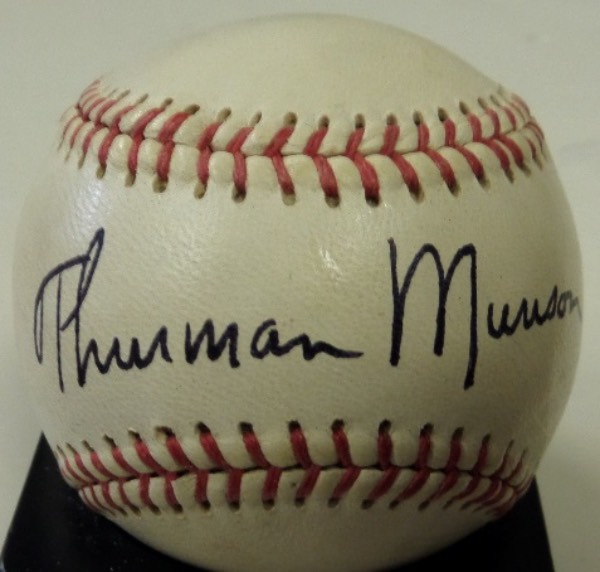 This vintage Official Little League Baseball from Wilson is in EX+ condition, and is black ink-signed on the sweet spot by Yankees legend and former MVP, Thurman Munson.  The signature is a bold overall 9--a really nice example--and will be able to be seen from across a room when cubed for display.  With his death now nearly 40 years ago, retail is low thousands!