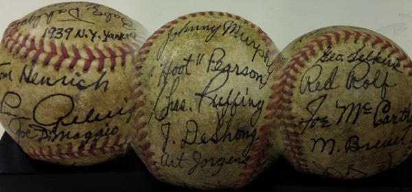 This vintage red-stitched beauty is in VG/VG+ shape overall and RARE!  It has been signed by 25 members of this legendary squad in black inks with all biggies included!  I see Gehrig, Dimaggio, Ruffing, Gomez, McCarthy, Ferrell, Coombs, Crosetti, Dickey, etc!! Comes with a signed COA from renowned New York collector BARRY HALPER for authenticity!!