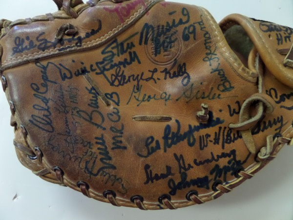 This vintage, all leather 1st basemans mitt is a 1960's pro model from Rawlings and comes sharpie signed by many, all of whom played 1st base and was an all-star, or HOF Great. Signers include Cepeda, Greenberg, Ted Klu, Banks, Stargell, Terry, Mize, Perez, Rose, Gil Hodges and many more. Signatures average 7's or better and value is upper hundreds with amazing names, and NO fillers.