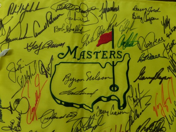 This sensational piece is a mint, full-sized REAL pin flag from Augusta, and comes sharpie signed by MANY, all of whom have won the coveted Masters Championship. I see some amazing HOF names, Jack Nicklaus, Tiger Woods, Arnold Palmer, Phil Micleson, Sam Snead, Byron Nelson, Ray Floyd, Billy Casper, Tom Watson and many, many more! It grades a clean, strong 9 all day long, and we have sold 10 of these, all from the same consigner, with NO returns ever! You want real? Buy this gem!