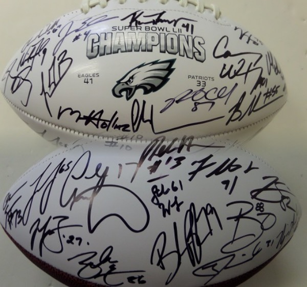 This mint, all leather, triple white panel ball has the games logo screened on and comes black sharpie signed by most. Of course Nick Foles and Carson Wentz are here, as is Ertz, Celek, J.Lurie, Jenkins, Algolor, Alshon Jeffrey etc. etc. etc. It was obtained IN PERSON at the team hotel in Minn. and grades a bold 9 all over. Value is about $1500.00 and even Lee gives his authenticity approval for certainty.