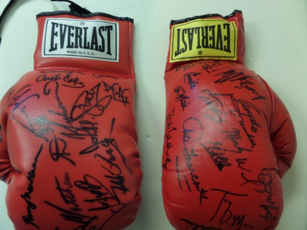 This MUST HAVE boxing fan's dream come true is TWO red lace up Everlast gloves, with a total of 29 signatures from all time greats of the ring.  Included in the signatures are names like Alexis Arguello, Gerry Cooney Angelo Dundee, Jimmy Ellis, Emile Griffth, Ruben Olivares, Mickey Ward, Carlos Ortiz, Christy Martin, and many more, and the gloves come with respective copies of the original JSA group LOA--even highlighted, please see picture!  With so many of these ring legends deceased, retail is hundreds for each.  Both together?  WOW!!!