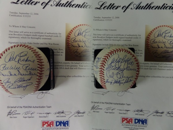 This Official National League Baseball from Rawlings is in EX+ condition overall, and comes hand-signed in blue ink by 13 different players who starred for the Brooklyn Dodgers in the 1940's and 1950's.  Included are Gene Hermanski (ss), Don Newcombe, Clem Labine, Andy Pafko, George Shuba, Cal Abrams, Mickey Owen, Carl Erskine, Pee Wee Reese, Duke Snider, Joe Black and more, and a full photo LOA from PSA/DNA (E35255) is included for authenticity.  Valued well into the high hundreds!