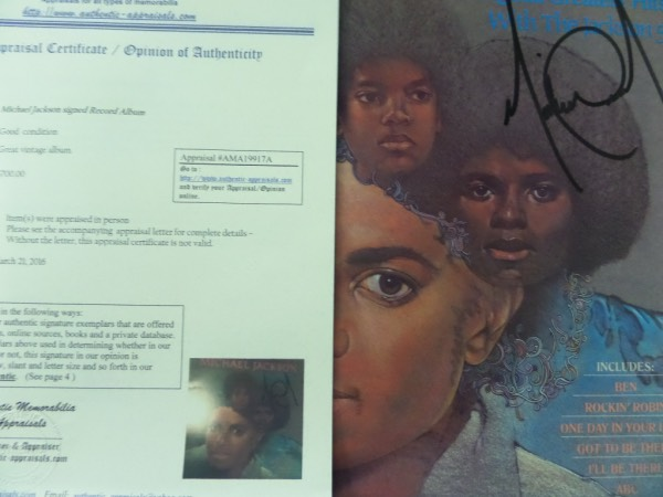"This ""14 Original Greatest Hits"" LP album from Michael Jackson is still in EX/MT condition, and comes front cover-signed in black sharpie by the King Of Pop himself.  Signature is about an 8.5 overall, and the album is certified by Authentic Memorabilia Appraisals, which lists the value at $700.00.  Valued well into the mid/high hundreds with his untimely death now nearly a decade ago!"