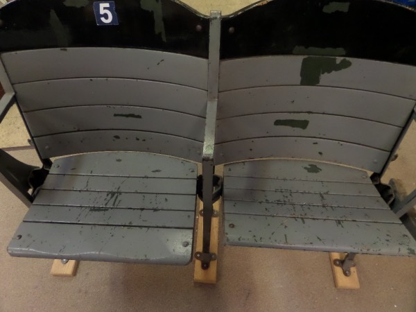 This large item is a pair of old wooden stadium seats and free stand thanks to the custom wood base we make for them. They are old, show tons of great vintage stadium usage, and are a PICK-UP only item right here at our Souderton Warehouse. Nice chance, almost impossible to find since 2000, and sold here with NO reserve as always. NO SHIPPING!!!