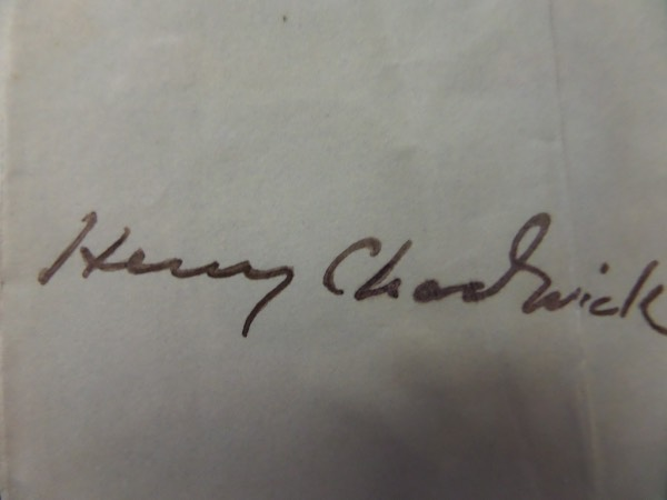 This 2.25x4.5 vintage cut of white paper is in VG condition with a couple of folds and light stains, and features the black ink signature of one of the first pioneers in baseball history, legendary box score inventor and sportswriter, Henry Chadwick.  Signature has held up decently, grading about a 5.5, and with his death now more than a century ago, this cut is valued into the low four figures, so bid accordingly!