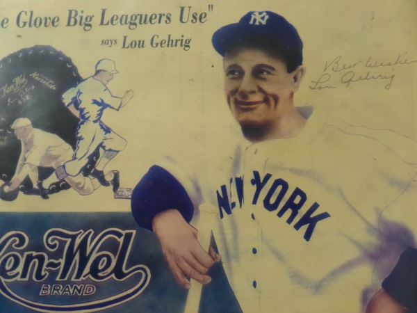 "This vintage Ken-Wel glove ad shows Lou in color, and measures near 13x20 in size. Great piece of MLB history, pencil signed by Lou off to one side, and with ""Best Wishes"" written as a bonus. It is a $3000.00 piece, sold here with NO reserve, and belongs in every serious Yankees/Gehrig/HOF collection."