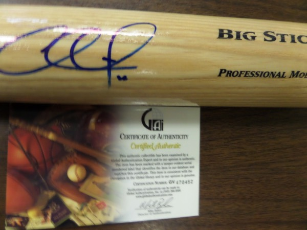 This blonde Adirondack Big Stick baseball bat from Rawlings is in NM/MT condition, and comes beautifully hand-signed on the barrel in blue sharpie by Phillies/Dodgers star 2nd baseman, Chase Utley!  This is a stunning signature, grading a 9 at least, and the bat comes certified by GAI (GV 470452) as an added bonus!  GREAT Phils/Dodgers item, and with his HOF chances fairly decent, retail is mid hundreds!