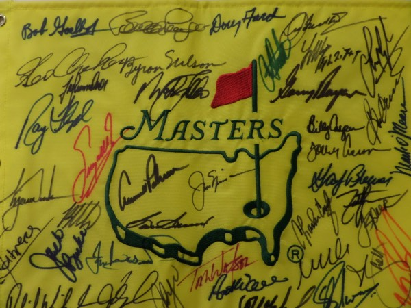 This top notch buy and hold investment is also a super re-sale piece, and can be found online for mid thousands! It is a custom embroidered pin flag from Augusta, comes sharpie signed by many, and holds names like Palmer, Nicklaus, Player, Watson, Tiger Woods, Mickleson, Floyd, Sam Snead, Byron Nelson and more. It is amazing must have sports piece, sold here with NO reserve, and grades a super nice 9 all the live long day.