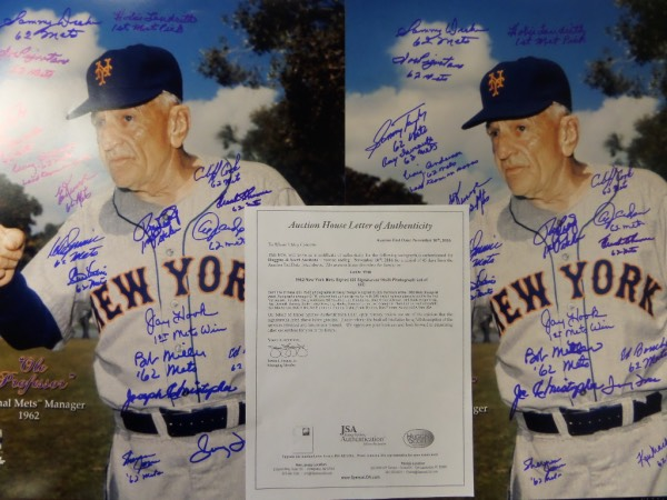 This MUST HAVE, historic Mets lot is TWO large, full color 16x20 images of original New York Mets Manager, Casey Stengel, each hand-signed in blue sharpie by 20 members of the very first 1962 Mets ballclub.  Included are Anderson, Bouchee, Christopher, Coleman, Cook, Craig, Daviault, Drake, Foss, Hooks, Jones, Kranepool, Labine, Landrith, MacKenzie, Miller, Pignatano, Taylor, Thomas and Zimmer, and a copy of the original JSA group LOA from Huggins & Scott is included for authenticity.  Each values well into the hundreds by itself!