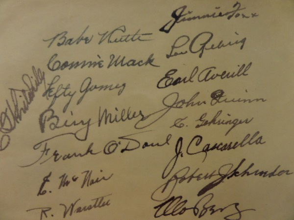 This very large autograph sheet measures 5.5x8.25, with rounded upper left corner and light toning around the edges.  It is hand-signed by 16 members of the legendary 1934 Tour Of Japan team, including Babe Ruth, Connie Mack, Lefty Gomez, Bing Miller, Lefty O'Doul, Jimmie Foxx, Lou Gehrig, Earl Averill, Charlie Gehringer, Moe Berg and more, and is perfect for matting and framing with the photo of your choice!  Retail is well into the thousands on this rarity!