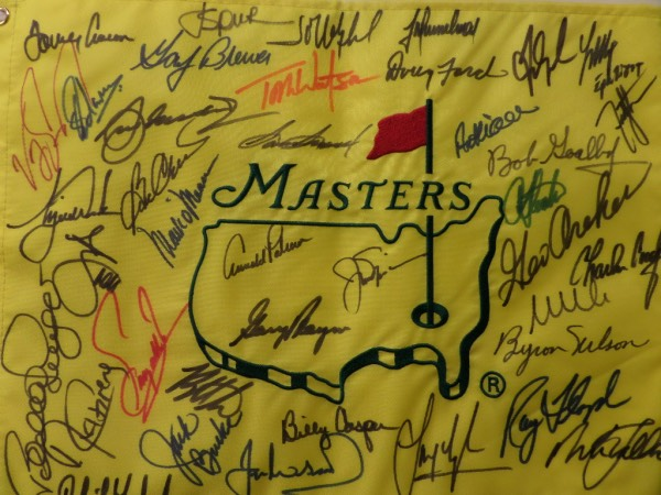 This top sports item is a solid buy and hold investment, and has an amazing array of winners that have signed on it. I see about 30 names in all, stars like Palmer, Nicklaus, Player, Casper, Mickleson, Snead, Floyd, Byron Nelson, Watson and even a guy named Tiger. It is a bold clean 10 all over, shows off EZ from 30 feet away, and value just might be 5 GRAND..Yes, you read that correctly!