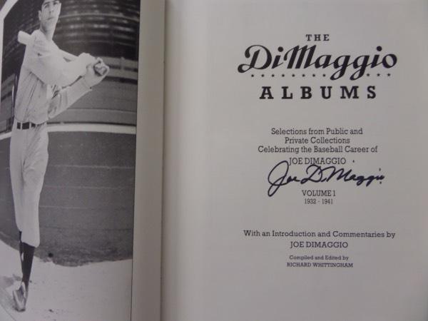 "This 1991 era SET is a red case/holder, that holds two huge MINT hardback books. They are called the ""DiMaggio Albums"" and they are chock full of great reading and photos of the long gone ""Yankee Clipper"". Each comes hand signed in bold black marker on the title page, and both books grade clean bold 10's. Nice set, 2 autographs, and value is about a grand if you can still even find them."