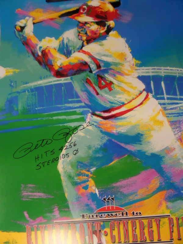 "This $1600.00+ lot is eight hand signed piecs for one money, and all are large custom works featuring Pete on these 2002 ""Farewell to Riverfront"" posters. Each is hand signed by both the artist, Malcolm Farley, as well as by the all-time ""Hit King"", Pete Rose himself. Great chance, easy re-sale, and all are guaranteed authentic by us as an added bonus."