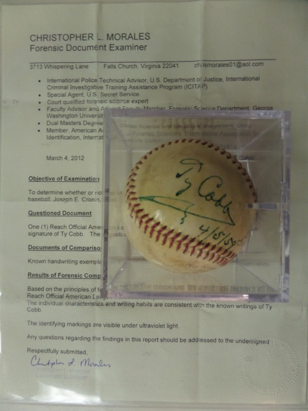 "This all important, must have Cooperstown ball comes green ink signed and dated by the late, famed ""Georgia Peach"" himself. It is a superb 1959 side panel signature from Cobb, on an official Reach Joe cronin AL ball, and even has provenance provided by forensic examiner Chris Morales. The signature tands out at an 8, value is mid-thousands on this beauty, and even Lee gives his OK on this buy and hold investment purchase."