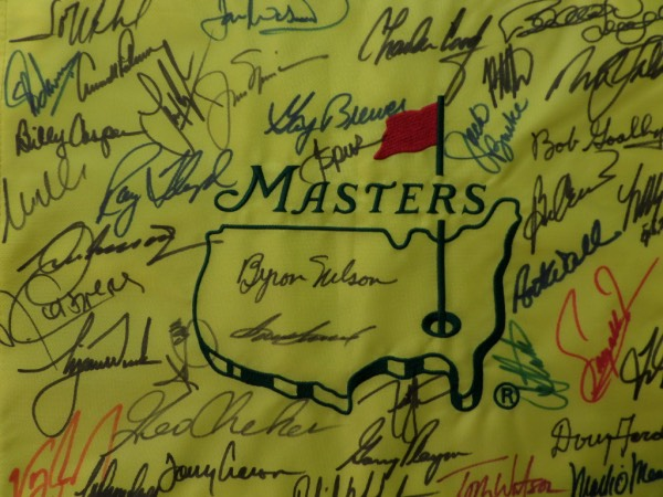 This $5000.00 hand signed pin flag features over 30 sharpie signatures and with just Masters winners, no garbage filler names. It grades a 10 all over, shows off well from up to 30 feet away, and has names appearing like Arnold Palmer, Jack Nicklaus, Player, Watson, Mickleson, Tiger Woods, Casper, Floyd, Singj, Sam Snead, Byron Nelson and many, many more. This is almost too easy of a buy and hold sports investment, and sells here with NO reserve!