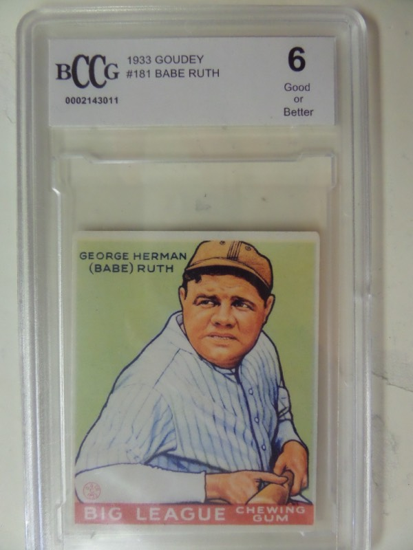 This amazing attic find is the color 1933 Goudey BB card of Babe Ruth and comes slabbed and graded as a bonus. It is a 6 says BCCG, value is many times our asking price, thousands in fact, and we sell with NO reserve all the time! Great buy and hold Ruth/Yankees/HOF/Card investment, and it is card #181.