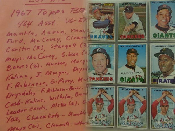 This lot is a Near set of 1967 Topps Baseball cards coming in pages and an album and including 454 assorted cards with STARS.  I see MANTLE, AARON, MAYS, Ford, McCOvey, Clemente, 3--Carlton, 3--STargell, Mays-McCOvey, 2--Gibson, 2--Banks, Hunter, Morgan, Kaline, Joe Morgan, Drysdale, Fr Robinson, G.Perry, Mathews, Drysdale, Brock, Flood (2), Leader cards, Checklists with 2--MANTLE, 2-MAYS, Clemente and more. Overall conditon is EX with some better and some worse, and well valued near $1500.