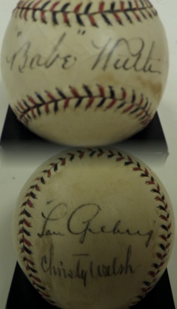 This vintage 1928 ball is red and blue laced and comes hand signed by BOTH Lou and Babe, as well as their manager Christy Walsh. The ball itself is a cream colored 5, signatures are nice at 4-5's, and Babe graces the sweet spot. The Gehrig signature is really clear, value here has to be upper hundreds, and investment is a given.