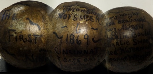 "Wow, this vintage GAME USED ball has been painted gold and presented to this HOFer for the 1869 Championship team and won EVERY GAME!  The ball was played against the NY Mutuals at the Union Grounds on 11/6/1869 and has ""the First Nine"" and all players and stats from the season hand written on it.  Book value is over $50,000 as this is unique and 1 of a kind!"