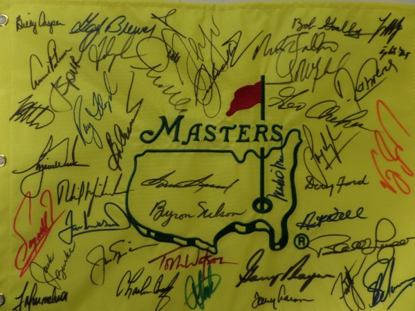 This is flag #16 that we've sold, all from the same consigner, and not ONE has been returned! This full sized gem is custom embroidered, and comes sharpie signed by MANY, all of whom have won the prestigious tournament.I see high value signers like Tigers Woods, Jack Nicklaus, Arnold Palmer, Gary Player, Sam Snead, Byron Nelson, Billy Casper, Phil Mickleson, Tom Watson..and many, many more! It's at least a 9 all over, and values can reach mid thousands!