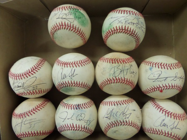 This amazing dealer lot holds 10 different official MLB game used baseballs (Actually 9 since there are 2 Aaron Judge!) . Each comes sweet spot signed superbly by a current megastar.  Included are A.Judge, M.Betts, A.Nola, B.Harper, J.Altuve, G.Stanton, DeGrom, Verlander, & Machado!!  Retail would be well into the thousands. NICE!