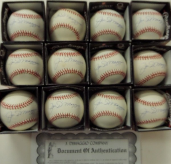 This fantastic dealer's opportunity is ONE FULL DOZEN Official American League Rawlings baseballs, each penned on the sweet spot in blue ink by the one and only Joltin' Joe himself, Yankees icon and HOF legend, Joe DiMaggio!  Each ball in here grades between VG+ and NM, and each signature is a legible 8 or better.  Each ball comes with its very own COA from the J. DiMaggio Company for authenticity, and each ball has a book value at no less than $600.00, so you do the math.  Can you say investment?
