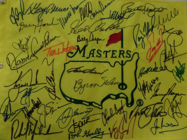This custom professional pin flag features custom embroidery and the colorful masters logo from Augusta. It is sharpie signed by 30 former winners, many of whom are now deceased, and has amazing names appearing from the golf world. First off, I see Tigers Woods..then Palmer, Nicklaus, Player, Floyd, Casper, then Sam Snead and Byron Nelson!! It just keeps going with stellar autographs, value is 5 grand all day long, and show off is easy from across the room. We have sold 12 of these with ZERO problems!!