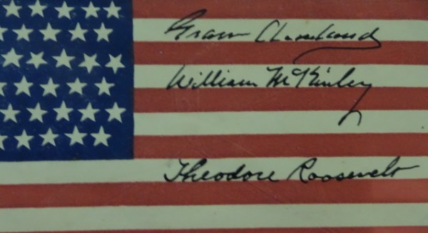 This undeniably historic item is a VERY old cachet with a 44 star American Flag surface, and is still in EX/MT shape.  Of course, you'd keep it well too if you had the following three signatures on it:  Grover Cleveland, William McKinley, and Theodore Roosevelt!  Signatures here are 6's at least, and with McKinley's assassination in 1901, it is more than likely that this piece was signed well over 100 years ago.  With all three Presidents long gone, the retail on this one of a kind item is well, WELL into the thousands!