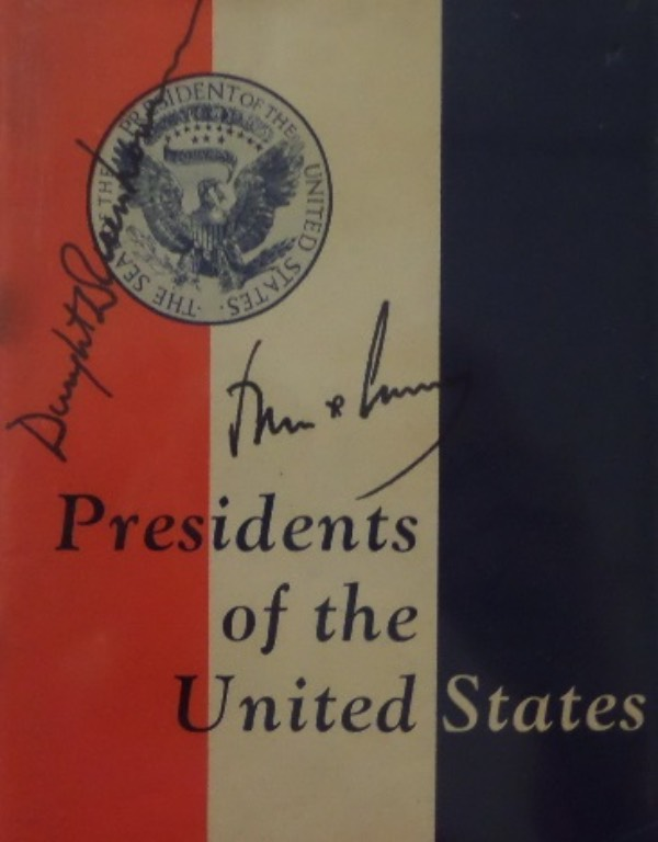 "This vintage ""Presidents Of The United States"" booklet measures about 4.5x6, and is in EX condition overall.  It is hand-signed in black by the 34th and 35th US Presidents, Dwight D. Eisenhower, and John F. Kennedy, and signatures grade bold, legible 7's at least.  With both men now long gone, retail here is well into the thousands!"