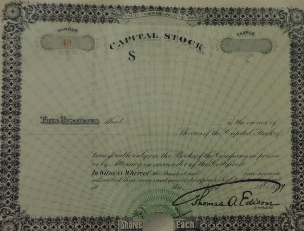 This stock certificate is in great shape and does not specify any numbers but has been signed BEAUTIFULLY at the bottom by the President of the Company...Thomas A Edison!! Absolutely gorgeous offering and RARE.