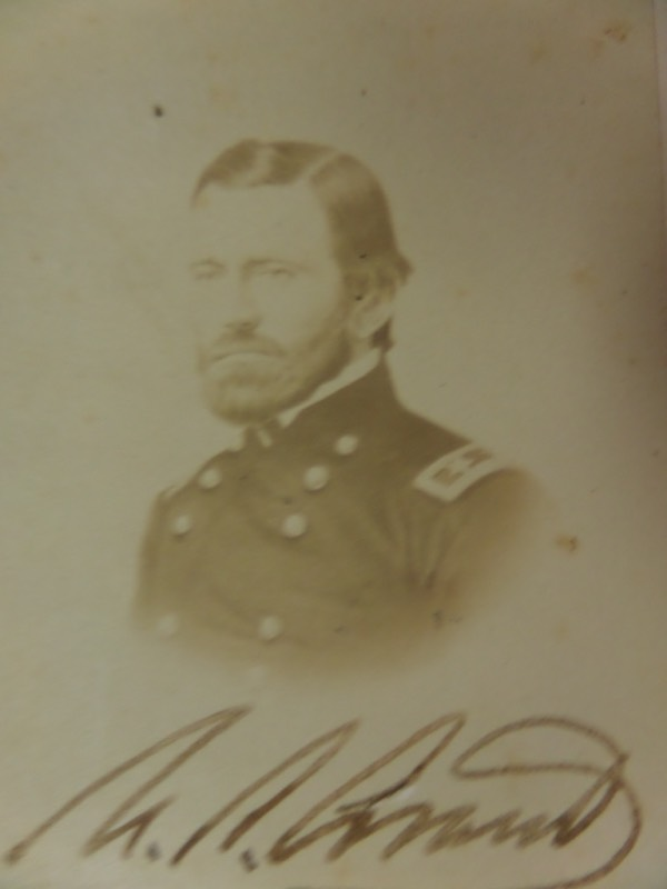 "Wow, this small approx. 2.5""x5"" cabinet photo of this legendary General shows him as a young man!  It is in VG/VG+ shape overall with a blank back and comes signed in old dip ink at the bottom by this long-deceased Civil War leader!  Very rare and ideal for display."