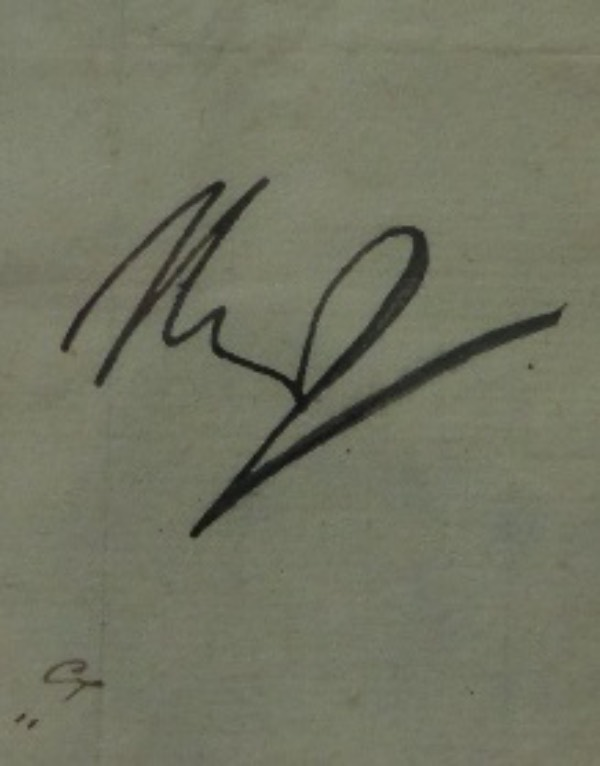 This rarely seen historical signature is signed in bold black ink, and measures near 2x3 in size. It is bold, in fact, you can see it from 20 feet away easily, and an east Coast LOA accompanies for certainty. Value is sky high, upper thousands IF you can even find one, and this looks to be cut from a document of some kind.