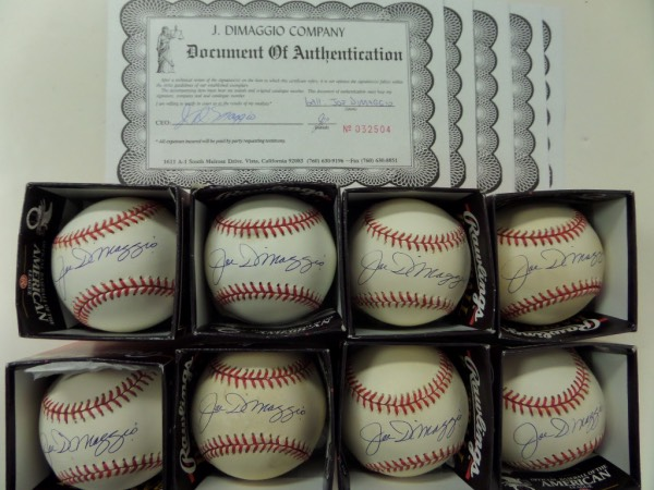 This fantastic grouping is EIGHT Official American League Baseballs from Rawlings, ranging in condition from G+ through EX+.  Each is hand-signed on the sweet spot in blue ink by Yankees HOF great, Joe DiMaggio, and EACH has a book value of $600.00, and each and every ball comes with its very own COA directly from the J. DiMaggio Co. for authenticity purposes, so you do the math!